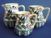 Graduated Set of Three Keeling and Co 'Shanghai' Losol Ware Jugs c1910
